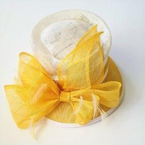 Yellow and white dress hat